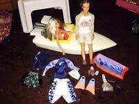 Barbie boat with beach Barbie + Ken