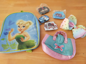 Tinkerbell Backpack and Assorted Girls Accessories.