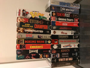 Boxing vhs lot . rare titles . 23 movies ,  only 25$ rare titles
