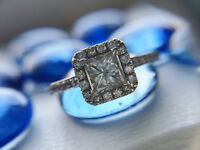 1.16cttw, 14K, Princess Cut Halo Engagement Ring