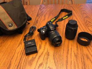 Nikon D3100 - 2 lenses, hoods and bag. IN EXCELLENT CONDITION