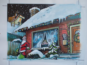 Lynn Johnston Original Art CHRISTMAS Santa watercolour FBorFW