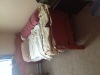 Wood head/foot board with frame and matching dresser