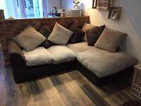 Brown/cream corner sofa