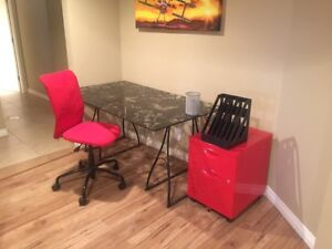Ikea desktop, legs, chair and file cabinet