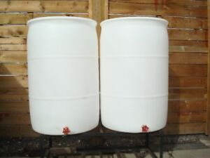 55 GALLON CLEAN WHITE RAIN BARRELS WITH NEW BRASS SPIGOTS