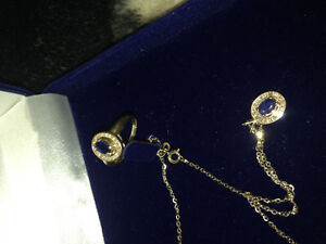 Sapphire And diamond ring and pendent