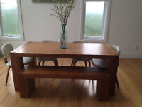 Modern Wood Table w/ Bench & leather chairs