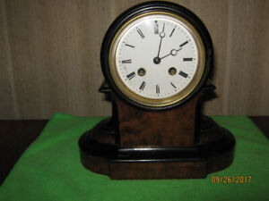 Antique Burl Walnut Mantle Clock, French Bell Chime, 1800's