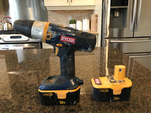 Ryobi power drill with two batteries