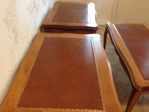 Cherry wood coffee table and 2 side tables with leather inlay Stratford Kitchener Area image 2