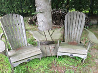 Wooden lawn chair set