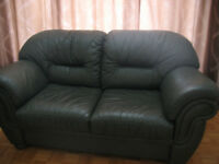 Loveseat  and sofa 3 seat in  beautiful dark green 100% Leather