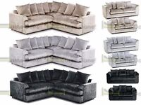 **7-DAY MONEY BACK GUARANTEE!!** Elaine Crushed Velvet Corner Sofa or 3 and 2 - SAME DAY DELIVERY!