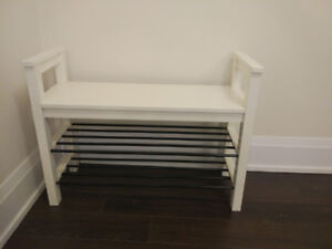 IKEA bench with shoe storage white