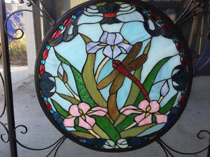 """Stained-Glass"" Dragonfly Fireplace Screen"