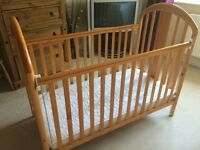 Mamas & Papas pine cot with mattress.