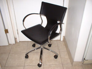 Computer / desk chair BLACK CHROME swivel adjust Italiande