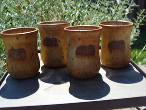 4 HORNING MILLS POTTERY MUGS, SIGNED HUTCHINGS