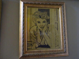 VINTAGE PENCIL DRAWING AND FRAME