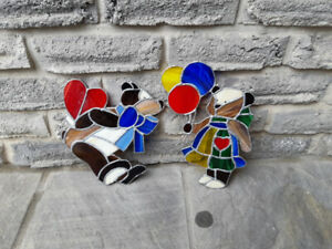 2 Vintage Stained Glass Pictures