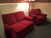 Marks & Spencer's red chenille two seater and armchair