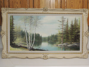 Listed Canadian artist E.Jalava landscape oil painting