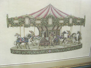 Cross Stitch Carousel picture, for sale by artist