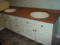 3 countertops, 2 sinks, 2 faucets,2 mirrors!