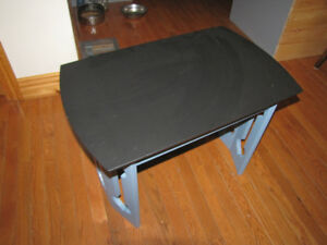 Solid Wood Blue and Black Side Table