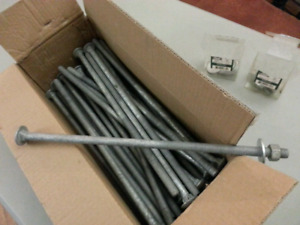 """14"""" long Carriage Bolts - 1/2"""" Diameter Galvanized (21 in total)"""