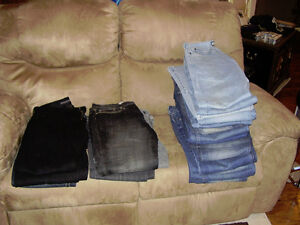 various types of jeans,black leather jacket, grey leather