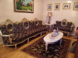 Victorian Sofa Set and Marble Tables