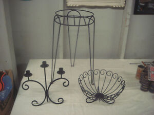 Metal Decor. Lot (Plant Stand,Candle Stands,Fruit Bowl & More)