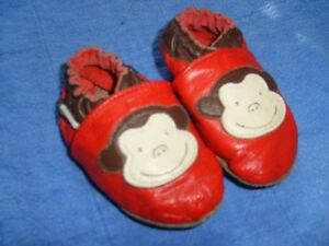 Robeez Red Monkey Slippers Size 6-12 mnths