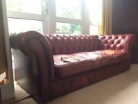 Red Chesterfield 3 seat sofa