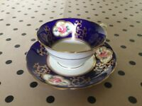 Vintage china tea cup and saucer navy blue pink floral