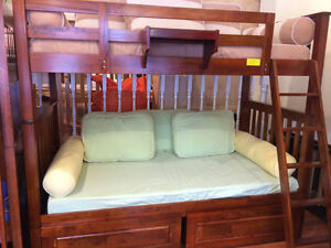Single over Single Hardwood Bunk Bed w 2 Drawers n Tray