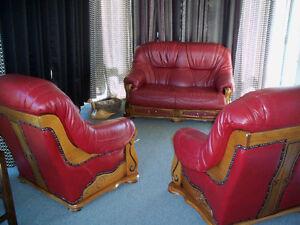 Magnifique - Mobilier salon en cuir rouge - qualité supérieure