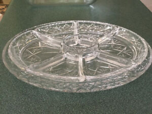 Heavy crystal serving dish with removeable sections