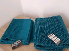 Bath Mat and Matching Hand Towel NEW Bathroom Storage Basket