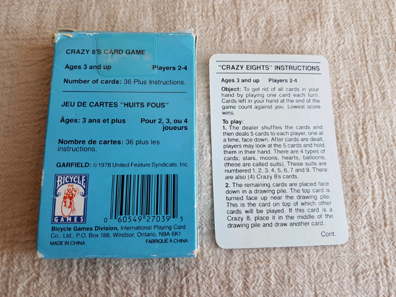 Vintage 1978 Garfield Crazy Eights Card Game Arts Collectibles
