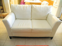 White Bonded Leather Love Seat and Chair EUC