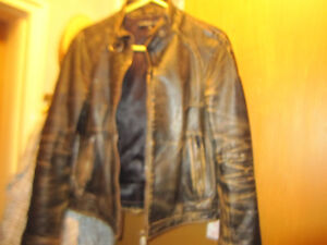 Gas Jeans Vintage Leather Jacket Coat Rare Made  Italy New Mens