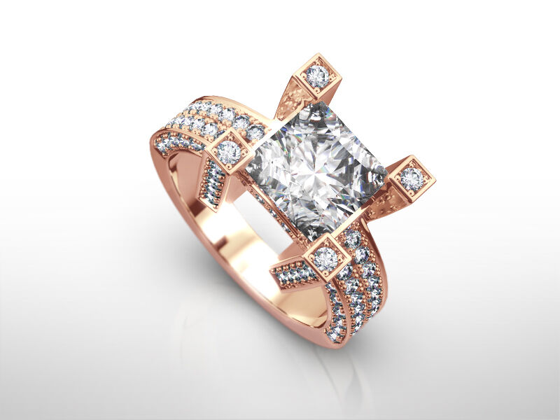Vs1 Princess Square Diamond Ring Genuine 2.6 Carats 14k Rose Gold Red 4 Prongs