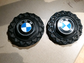 """BBS CENTRE CAPS X2 OLD STYLE - POSSIBLY FROM 14"""" BMW E30 ALLOYS ?"""