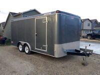 16 x 8 Enclosed Cargo Trailer - RAMP DOOR - Like New!