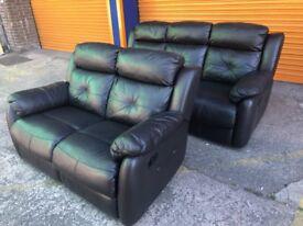 Harveys Visper 3+2seater Black leather reclining