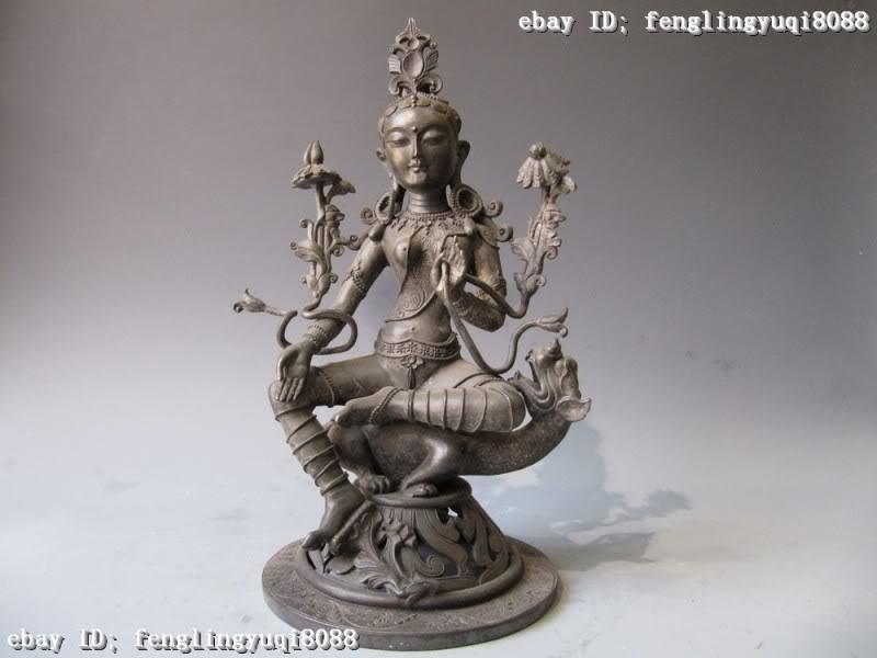 Tibetan 100% Pure Copper bronze Green TaRa Avalokitesvara Kwan-Yin Buddha Statue