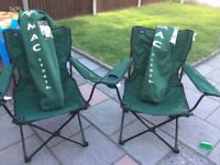 2 Green fold up camping chairs
